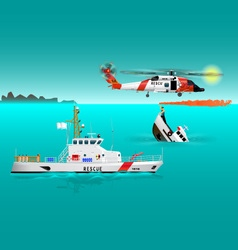 Helicopter rescue teams and ship at sea 2 vector