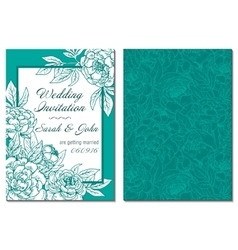 Wedding invitation green and white hand drawn vector
