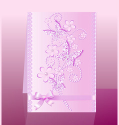 Background card with flowers and bow delicate vector