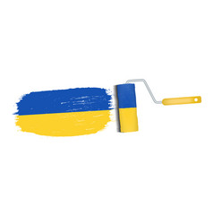 brush stroke with ukraine national flag isolated vector image