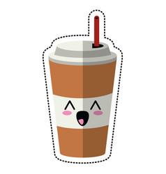 Cartoon paper cup soda straw vector