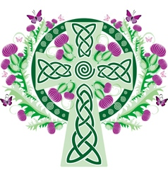 Celtic cross with a vignette of a thistle flower vector