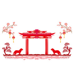 Chinese zodiac the year of dog - frame vector