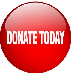 Donate today red round gel isolated push button vector