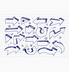 doodle blue pen sketch arrows on lined paper vector image