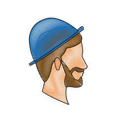 Drawing bearded head man profile with blue hat vector