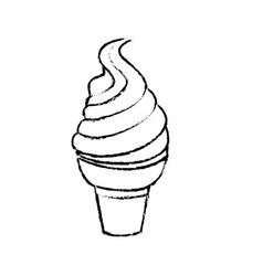 Figure tasty ice cream in the cornet vector