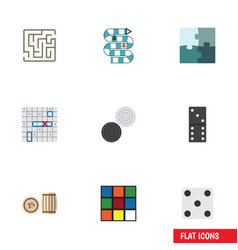 Flat icon play set of chequer bones game vector