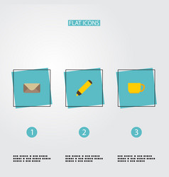 flat icons highlighter tea letter and other vector image vector image