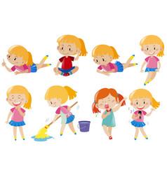 happy girl doing different activities vector image vector image