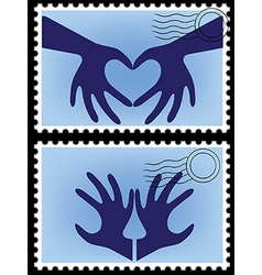 Heart hands stamps vector