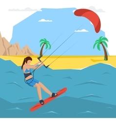 Kitesurfing girl concept vector
