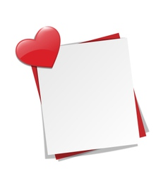 Love paper note on wall with red heart magnet vector