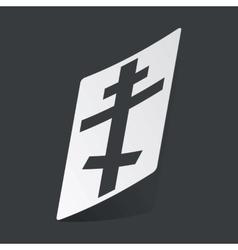Monochrome orthodox cross sticker vector