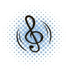 Music key comics icon vector image