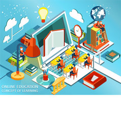 Online education Isometric flat design vector image vector image