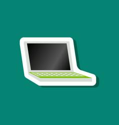 Paper sticker on stylish background laptop vector