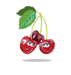 Red cherry cartoon characters vector