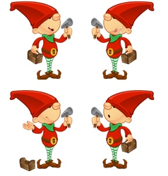 Red elf hammer toolbox vector