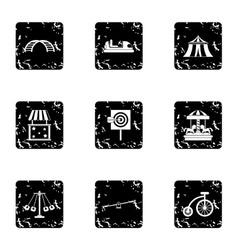 Rides icons set grunge style vector