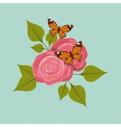 Roses with butterflies icon vector