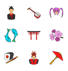 Shanghai icons set cartoon style vector