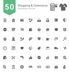 Shopping and Commerce Solid Icon Set vector image vector image