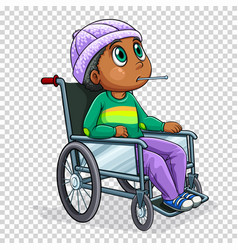 Sick boy on wheelchair vector