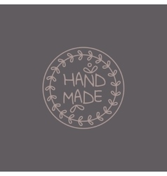 Simple floral grey hand made trademark vector