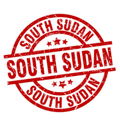South sudan red round grunge stamp vector