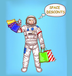 space discounts concept with astronaut vector image vector image