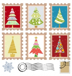 stamps with tree design vector image vector image