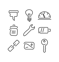Technical tools set icons vector