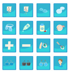 Vision correction icon blue app vector