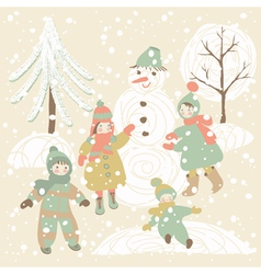 Winter background with children vector image