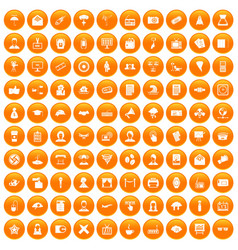 100 journalist icons set orange vector