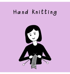Girl doing hand knitting black and white flat vector