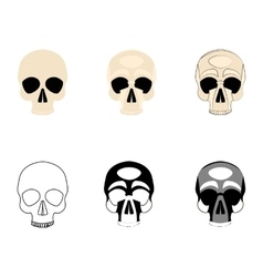 Set icons human skulls logo in various styles vector image