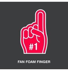 Fan foam finger line icon Sport supporting vector image