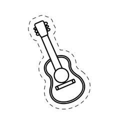 Guitar instrument music cut line vector