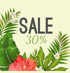 Sale poster on background with tropical leaves and vector