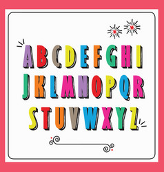 Colorful funky capital letters alphabet set vector