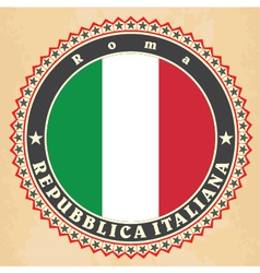 Vintage label cards of italy flag vector