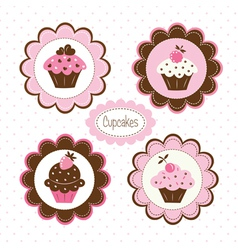 Set of cupcakes labels vector