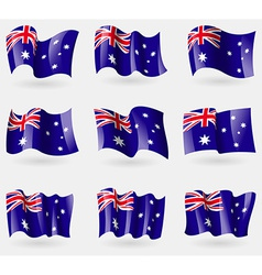 Set of australia flags in the air vector