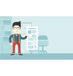 Man happy standing inside his office vector
