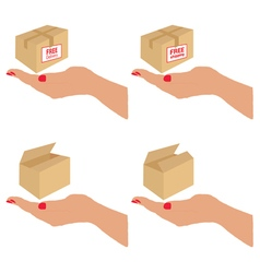 free delivery and shipping on the box vector image