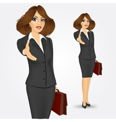 Businesswoman giving hand for handshake vector