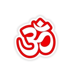 Paper sticker indian om sign on white background vector