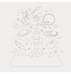 Space universe graphic design linear icon set vector